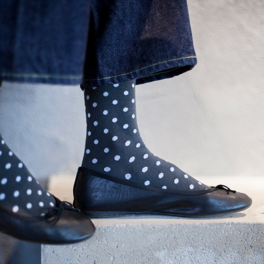 Women's Grey & White Polka Dot Patterned Socks