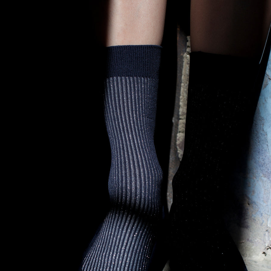 Two-Tone Ribbed - Navy/Silver - Votta Socks