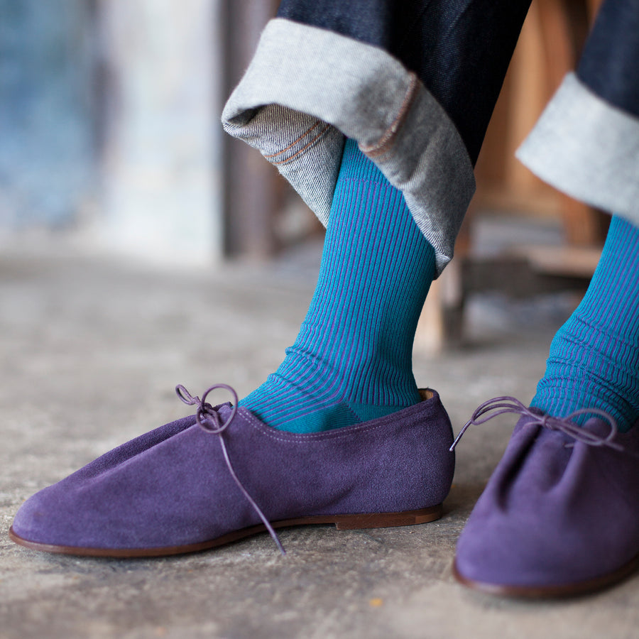Two-Tone Ribbed - Blue/Purple - Votta Socks
