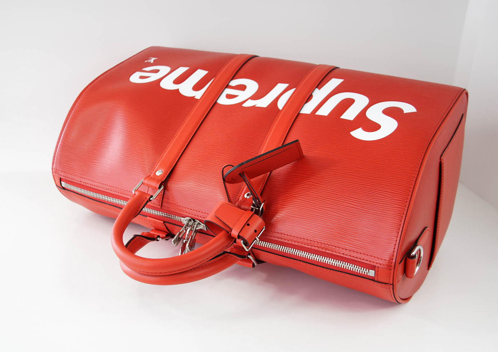 c4b9df63c14 ... Load image into Gallery viewer, Louis Vuitton X Supreme Red Epi Keepall  Bandouliere Duffle Bag ...