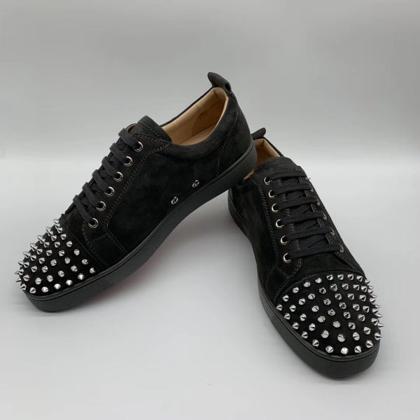 info for 7249b 66489 Christian Louboutin Low Top Suede Silver Spikes on Toe Black