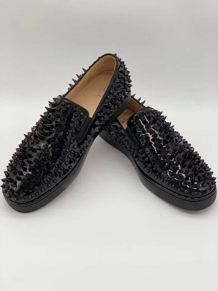 sports shoes c832f 74a9e Christian Louboutin Low Top Leather Spikes All Over Black