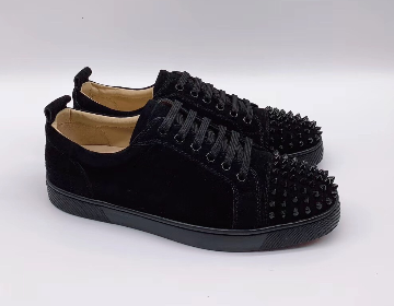 sports shoes d1a6b ff1eb Christian Louboutin Low Top Suede Spikes on Toe Black