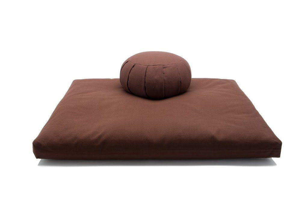 Deluxe Zafu & Zabuton 2 Piece Set - Yoga/Meditation Cushions - Made in USA - Buckwheat or Kapok Fill