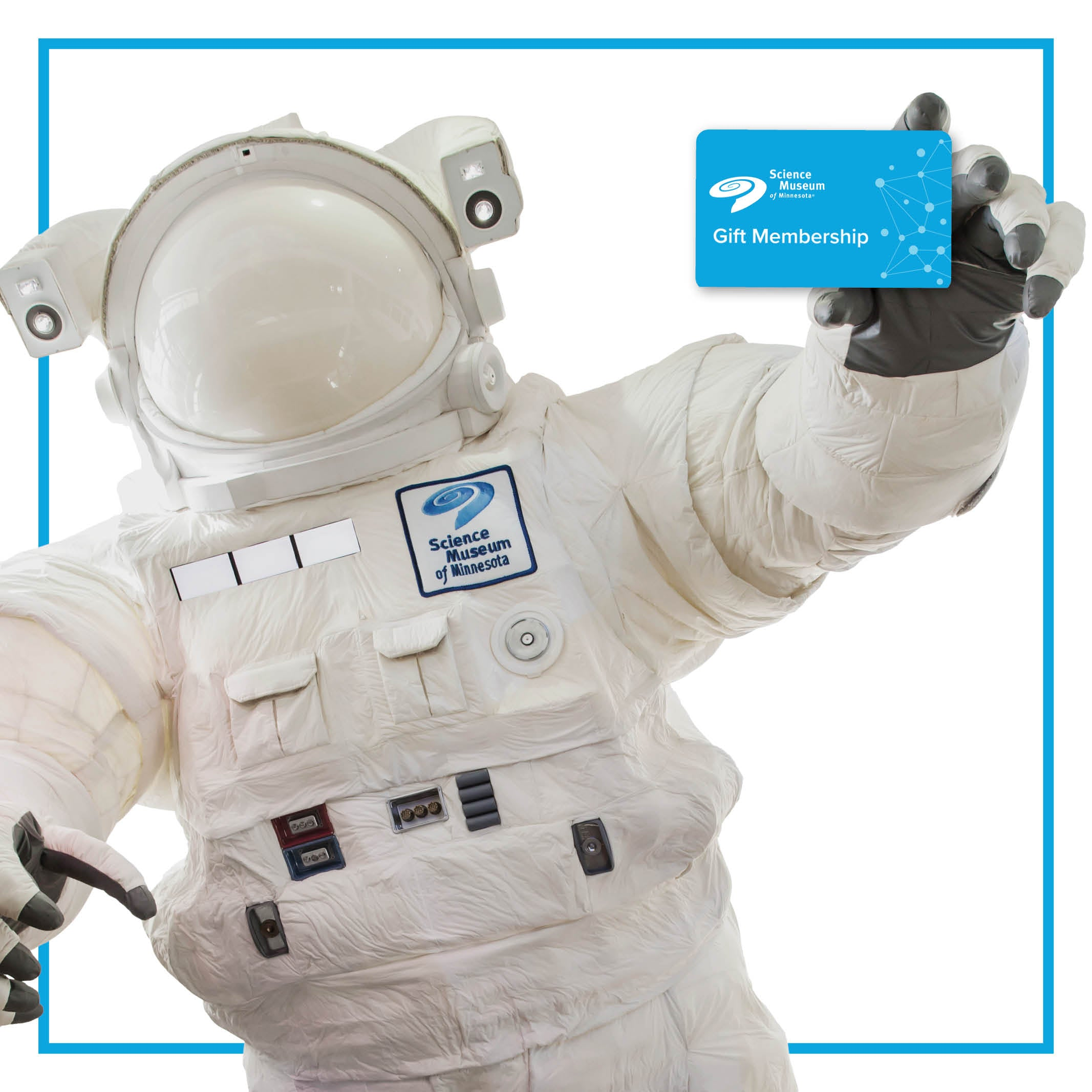 Giant astronaut trying to catch a floating gift Membership gift card