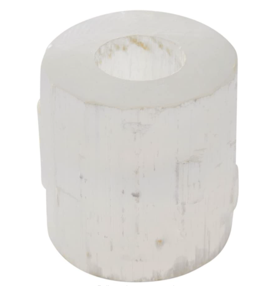 Selenite Flat Top Candle Holder
