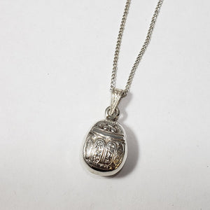 Silver Scarab Necklace Double Sided