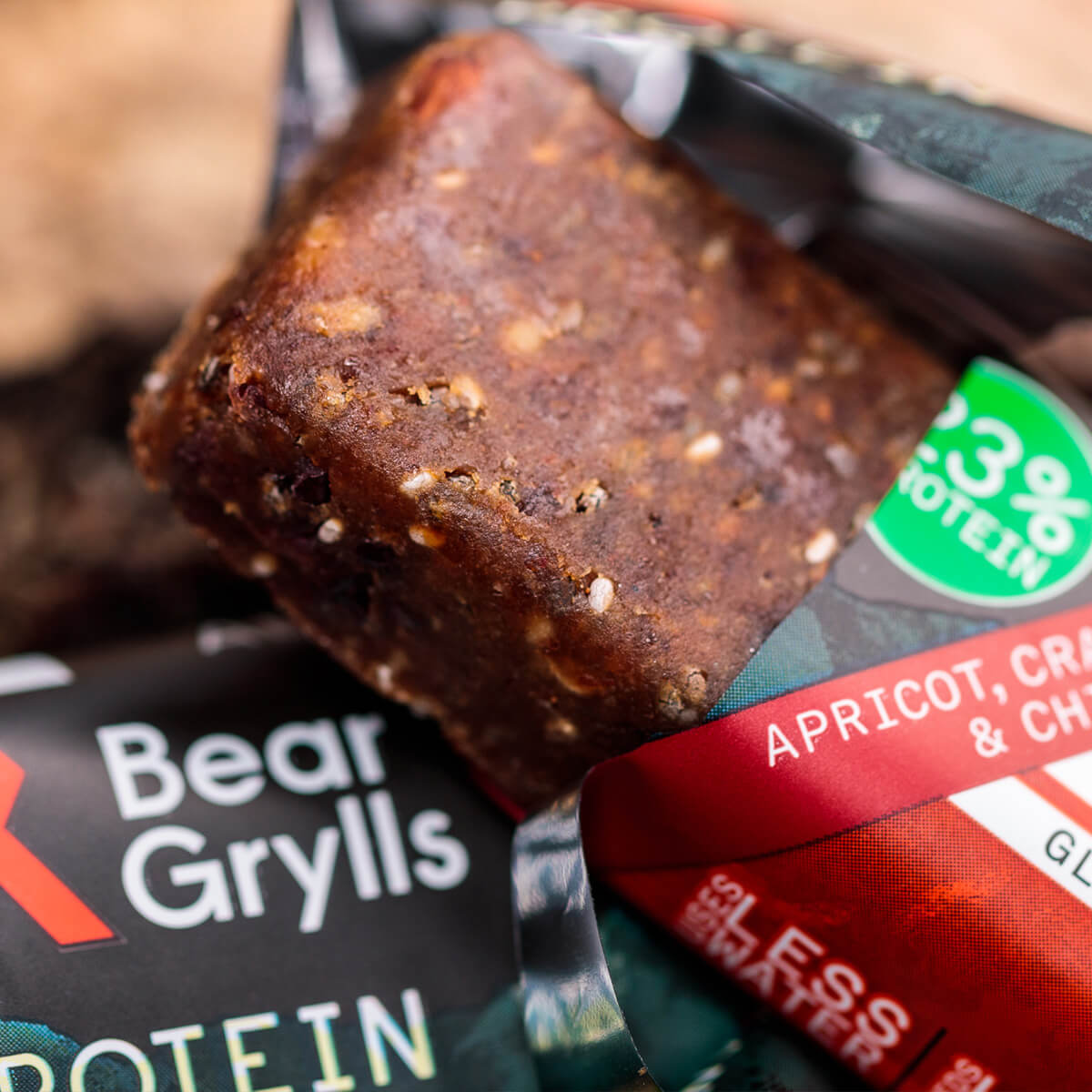 Planet positive Bear-Grylls-apricot-cranberry-chia-protein-bar