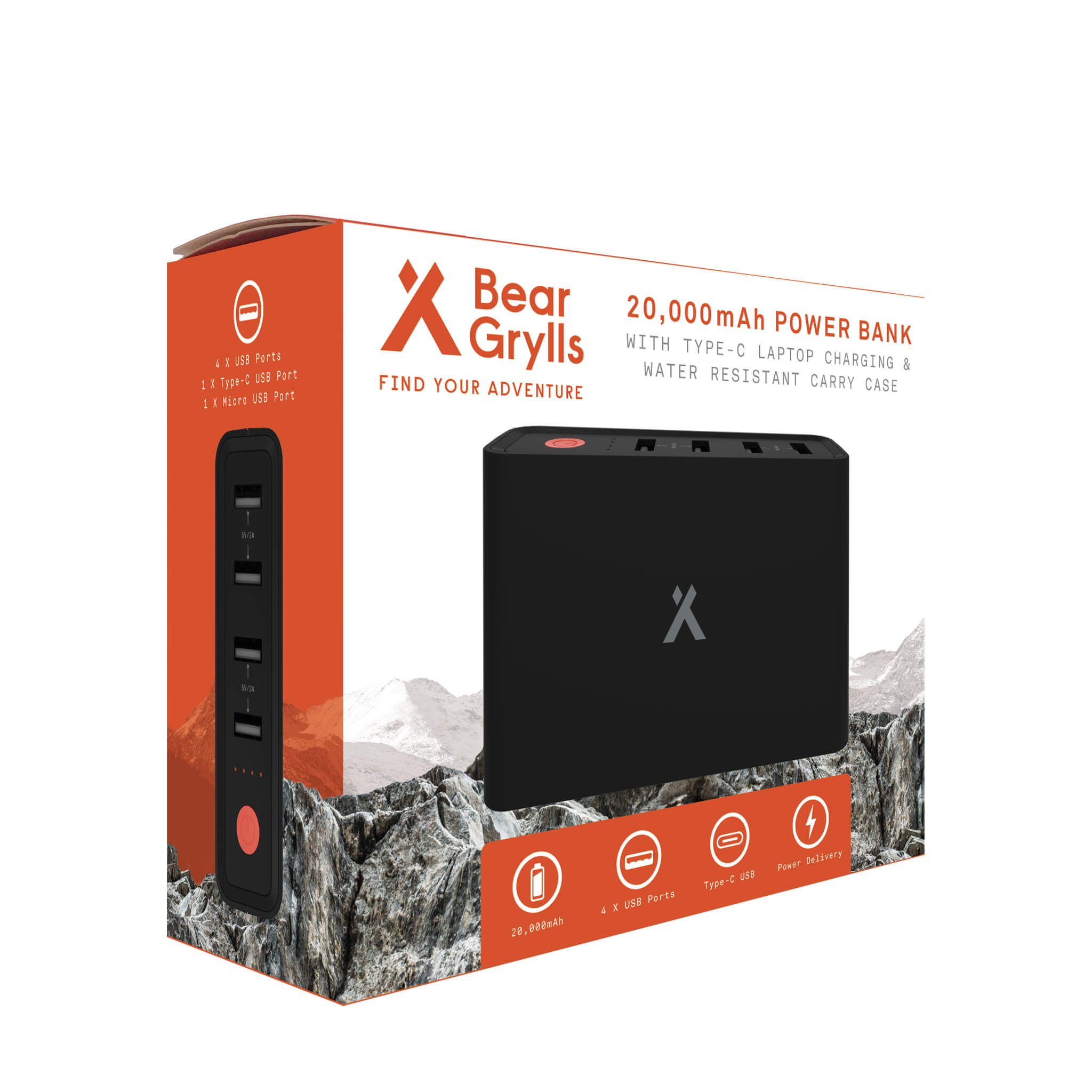 Packing for the Bear Grylls 20,00mAh Power Bank