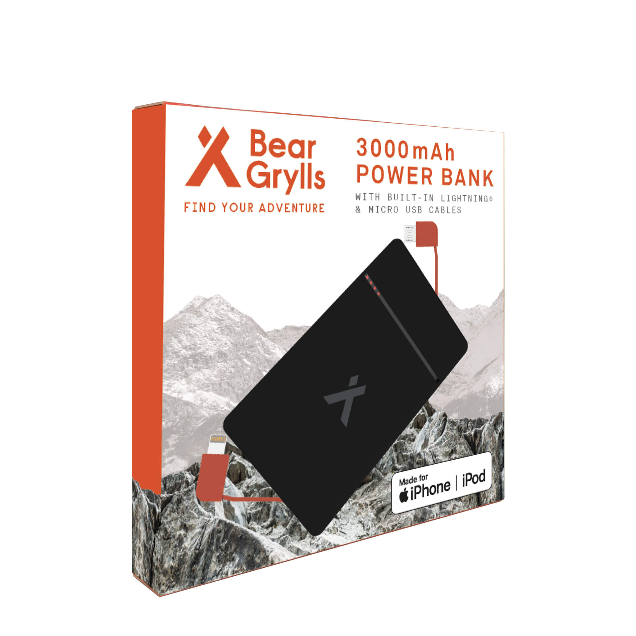 Packing of the Bear Grylls 3,000mAh power bank