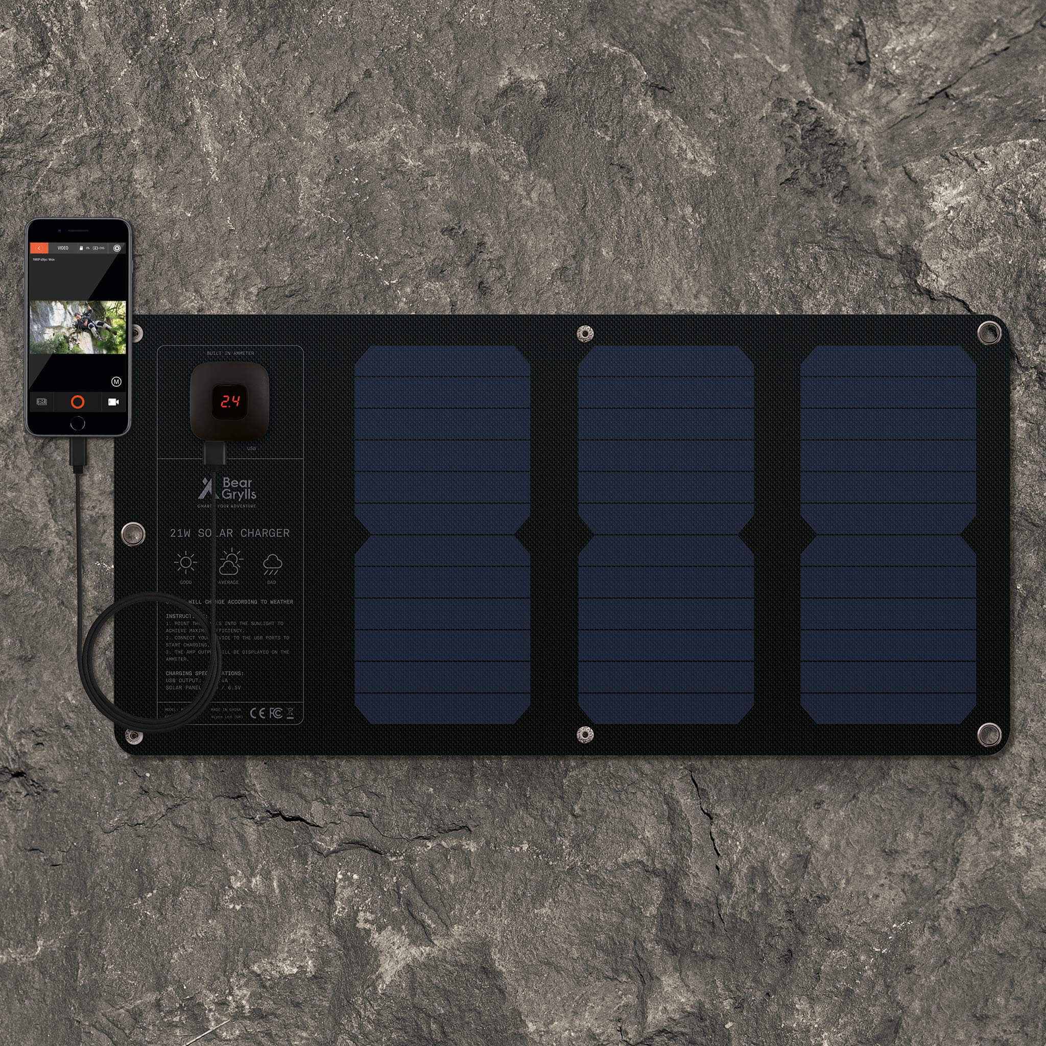 Fast charging technology used in the Bear Grylls 21W Fold-out Solar Mat