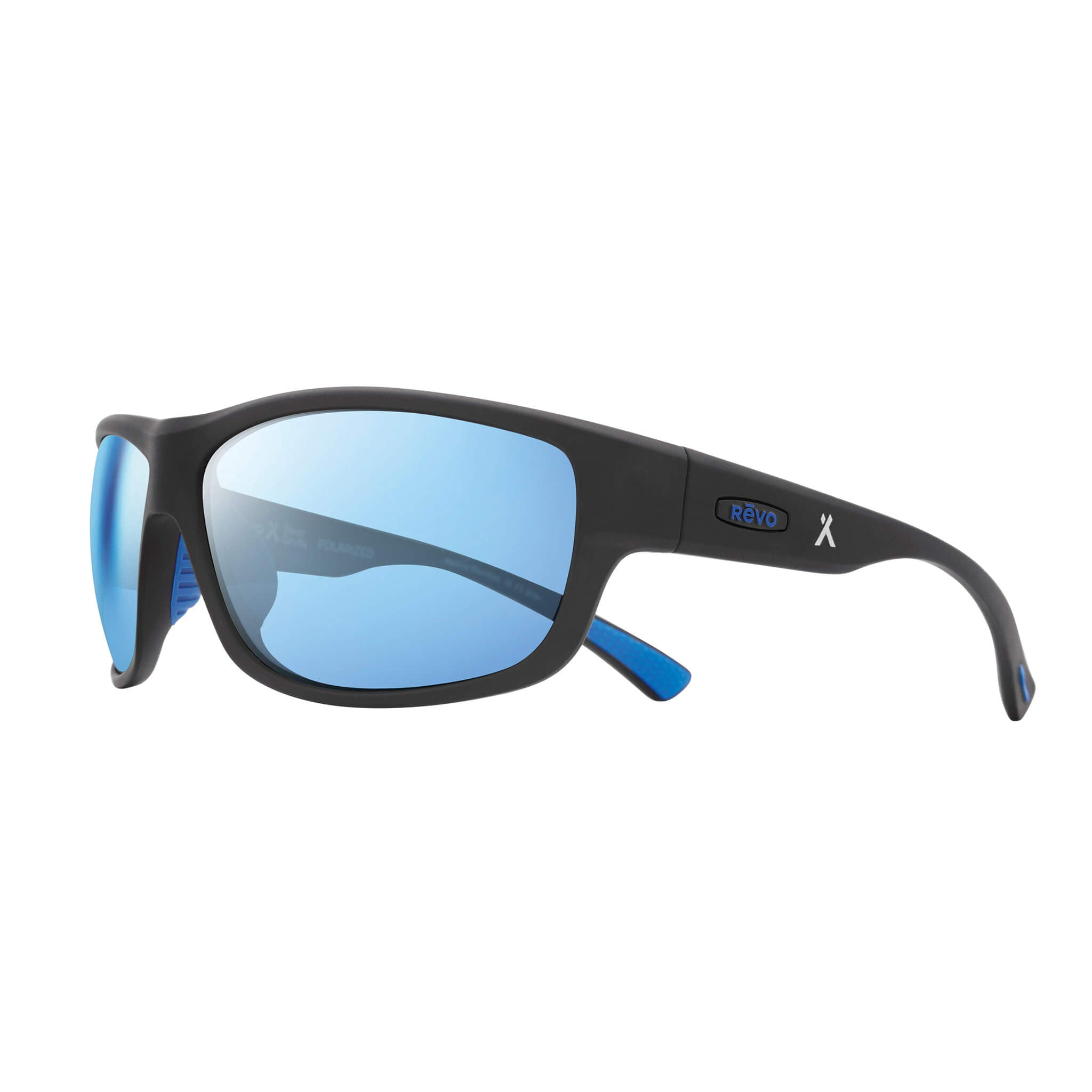 Matte black + blue water lens:Side view of Bear Grylls Revo Caper Sunglasses