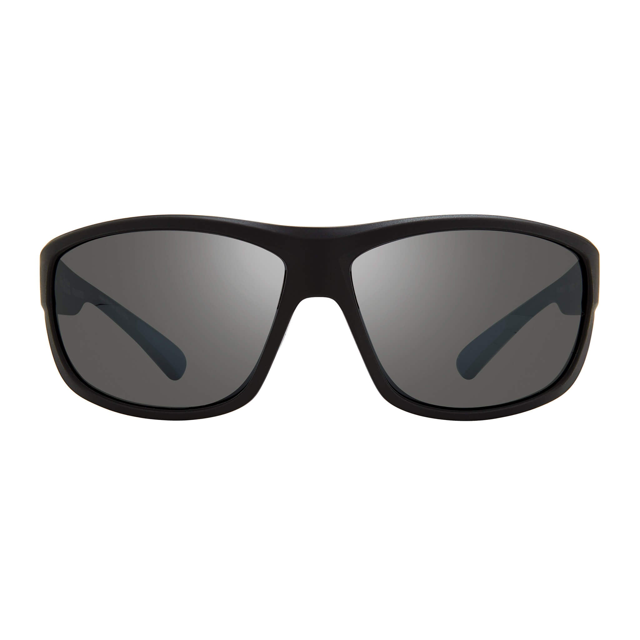 Matte black + graphite lens:Front view of Bear Grylls Revo Caper Sunglasses