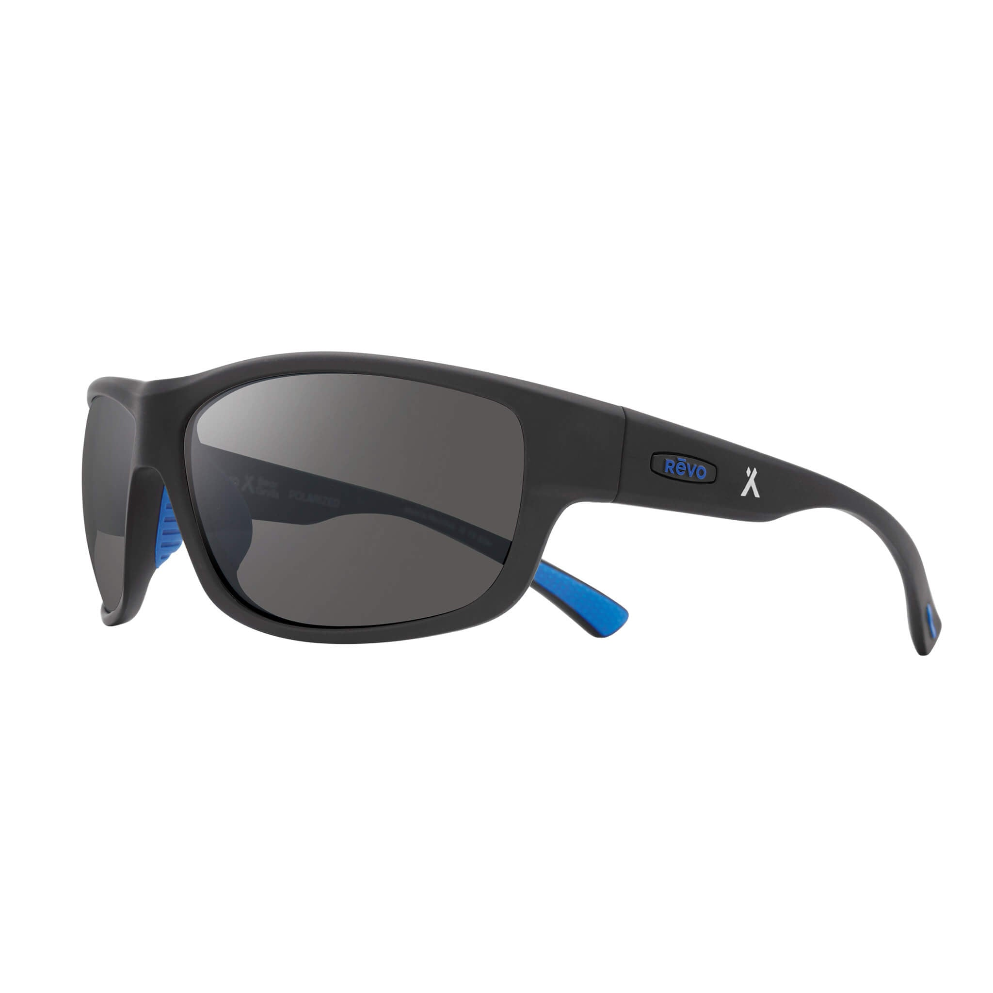 Matte black + graphite lens:Side view of Bear Grylls Revo Caper Sunglasses