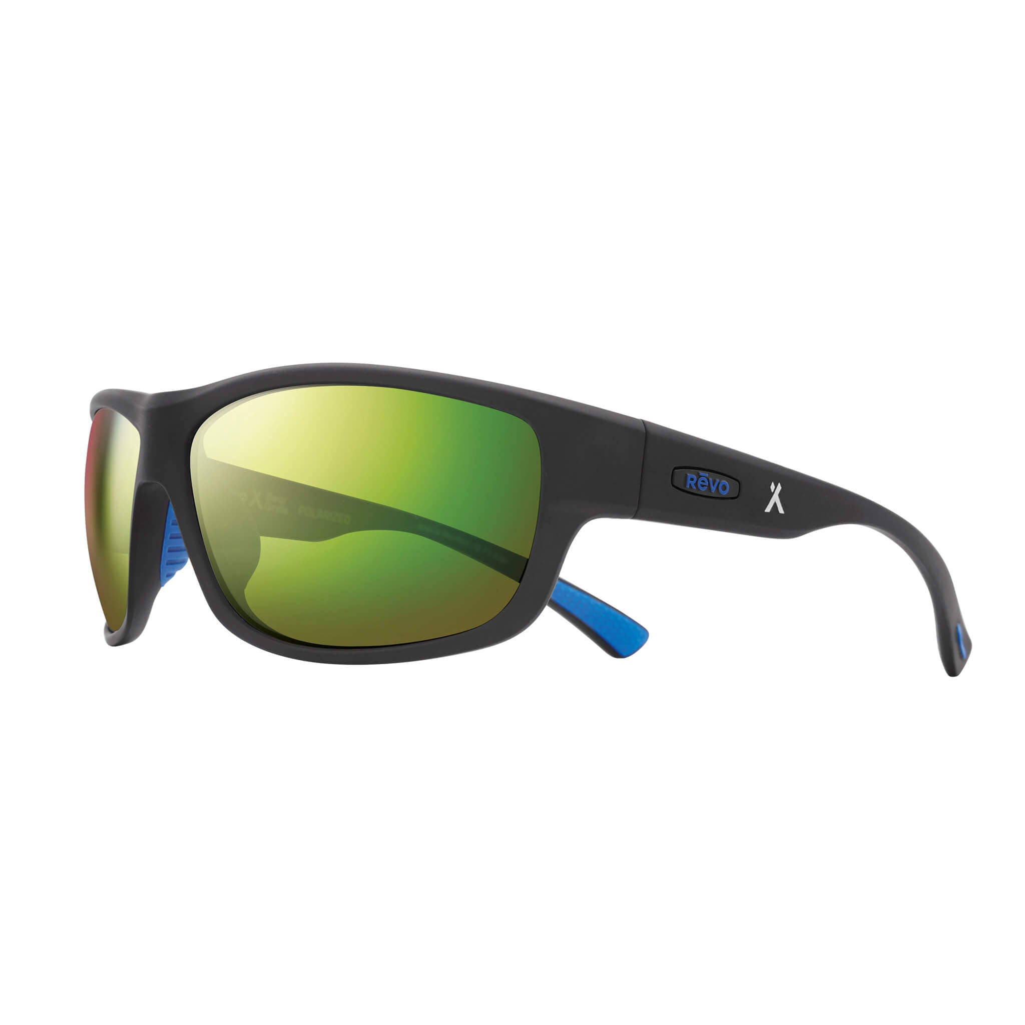 Matte black + green water lens:Side view of Bear Grylls Revo Caper Sunglasses