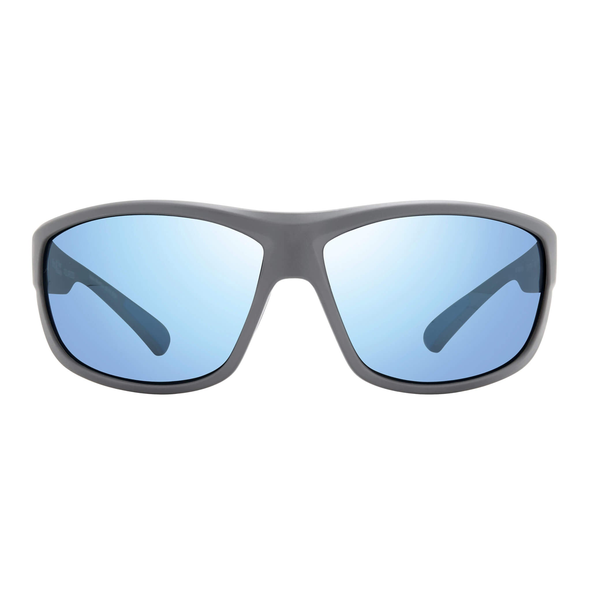 Matte light grey + blue water lens:Front view of Bear Grylls Revo Caper Sunglasses