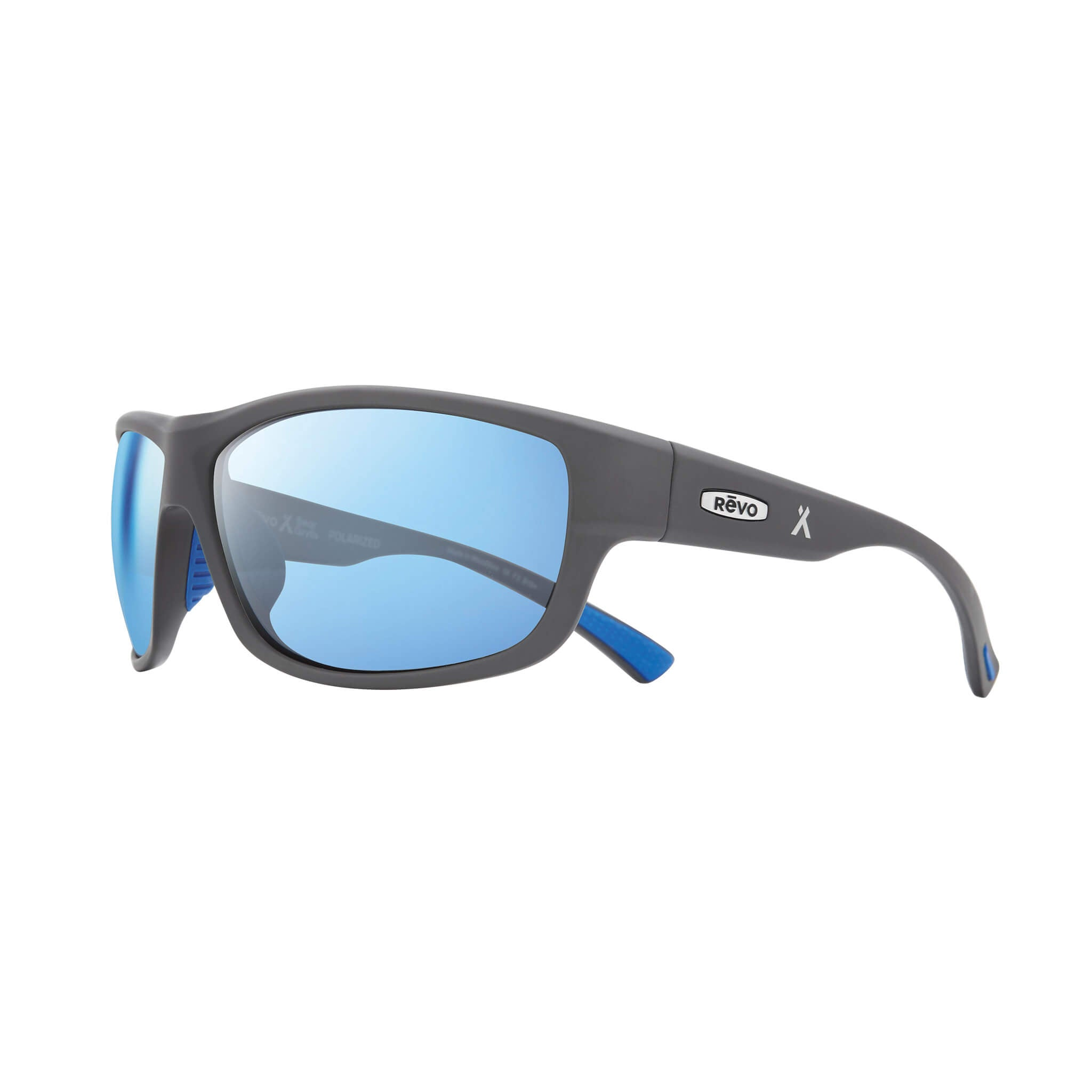 Matte light grey + blue water lens:Side view of Bear Grylls Revo Caper Sunglasses