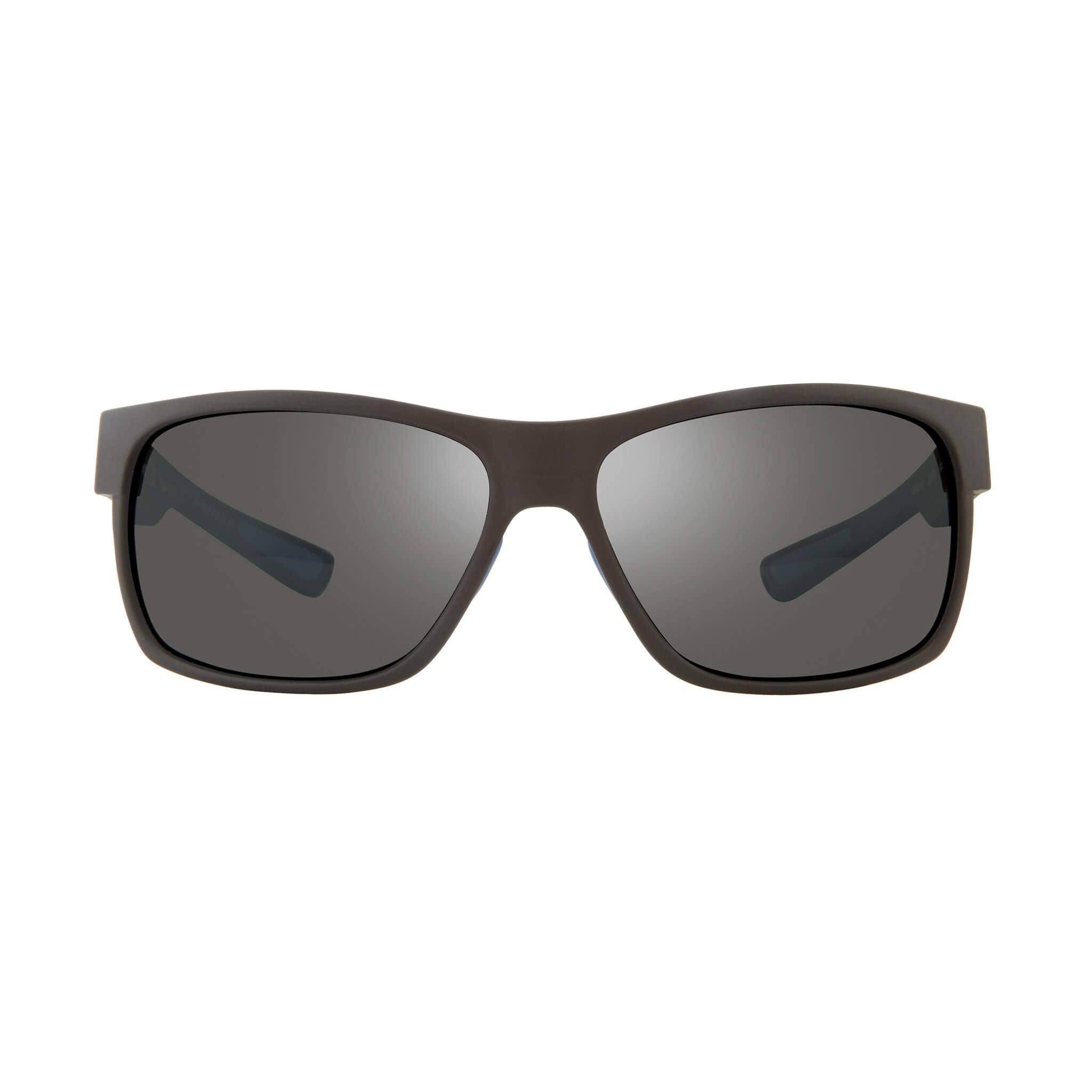 Espen Matte black + graphite lens:Front view of Bear Grylls Revo Black with Graphite lens sunglasses