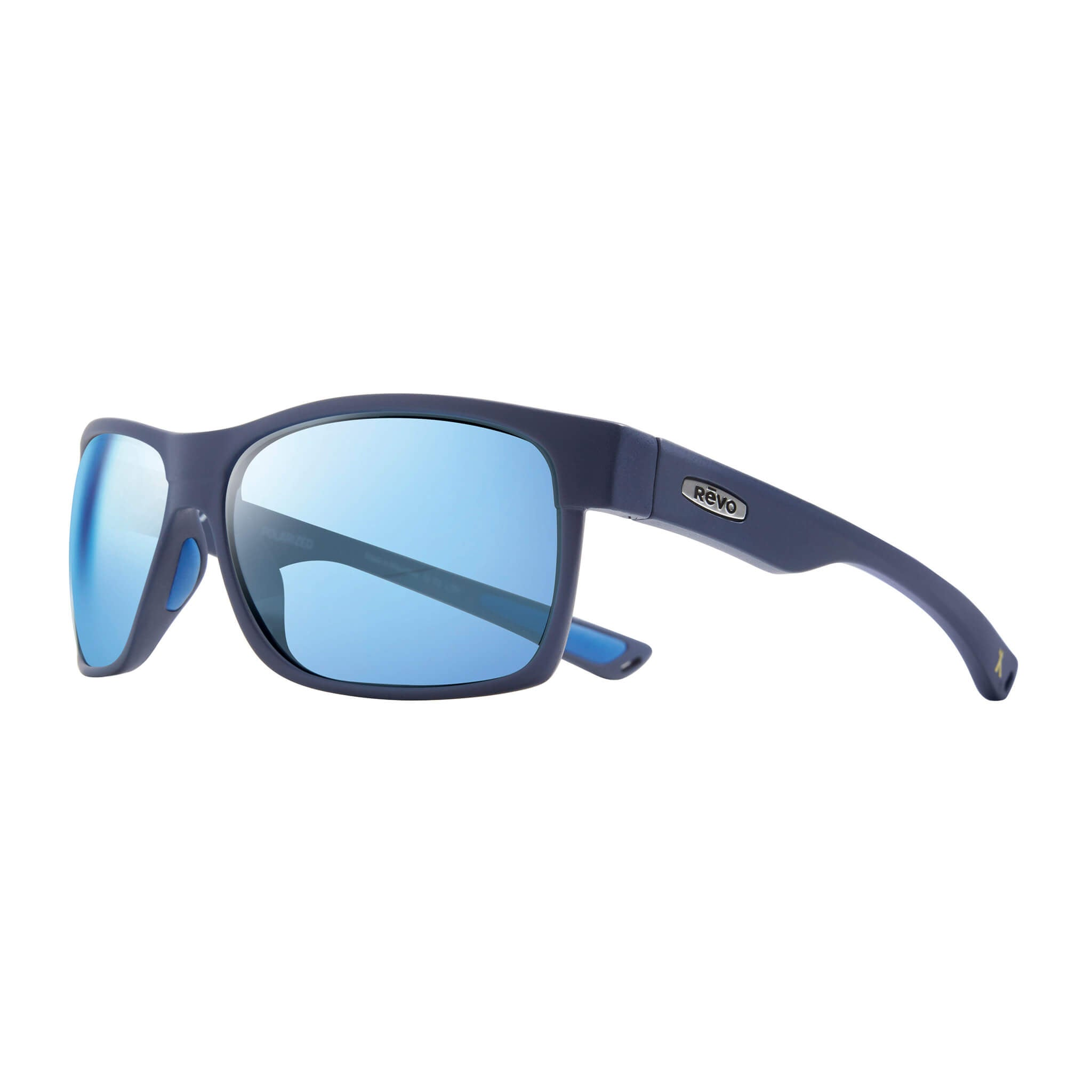 Espen Matte blue + blue water lens:Side view of Bear Grylls Revo Matte Blue with Blue Water lens sunglasses