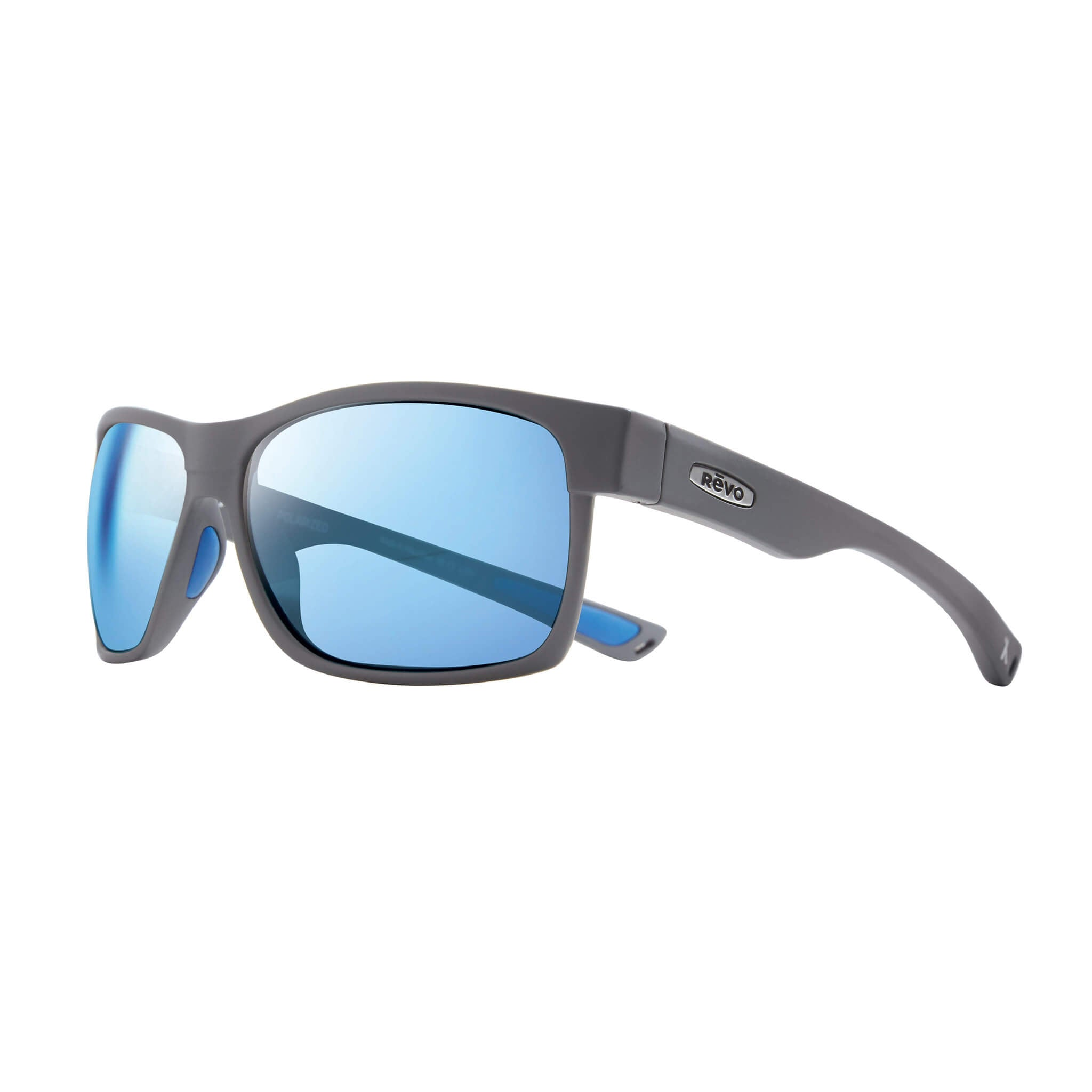 Espen Matte graphite + blue water lens:Side view of Bear Grylls Revo Matte Graphite with Blue Water lens sunglasses