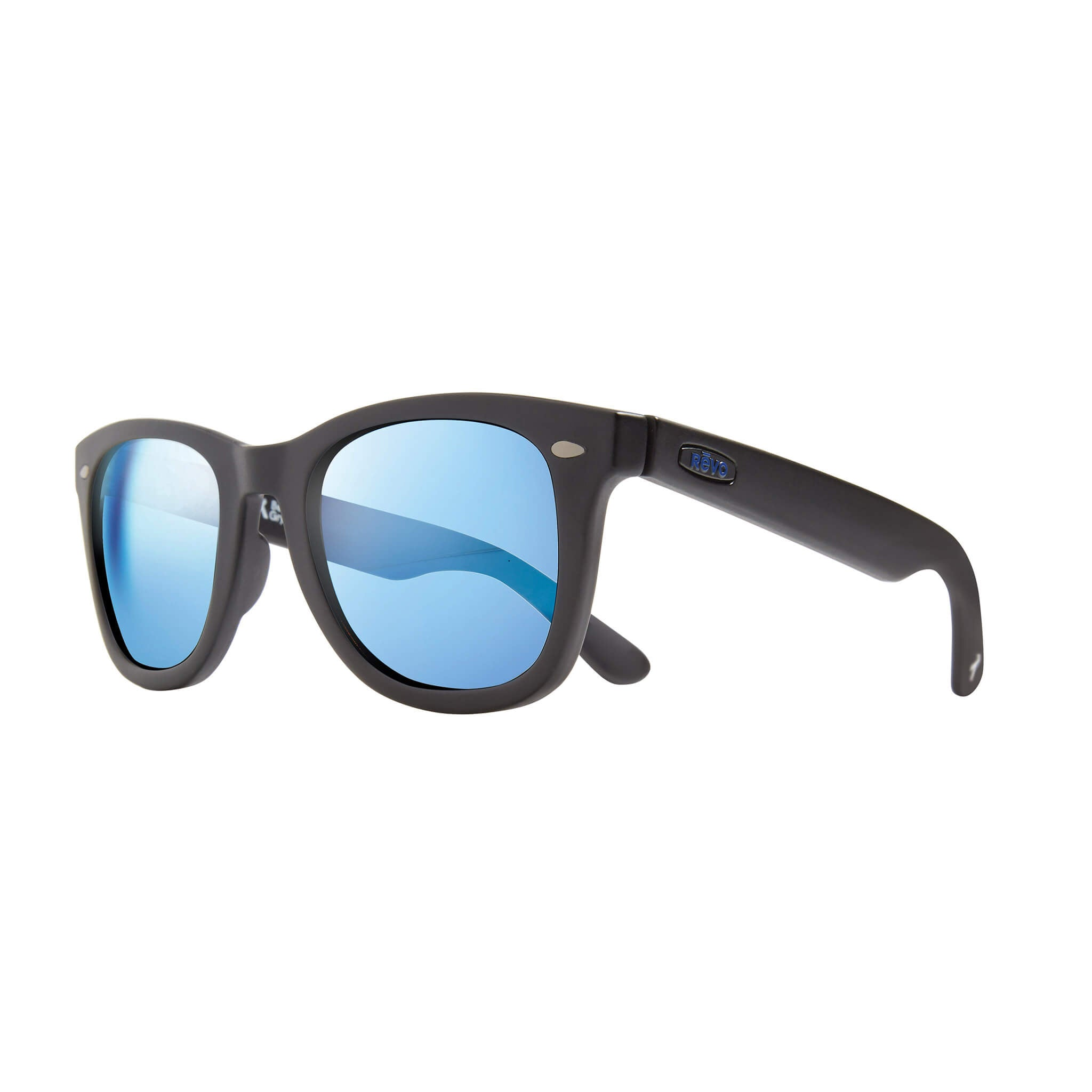 Forge Matte black + blue water lens:Side view of Bear Grylls Revo Black with Blue Water lens sunglasses