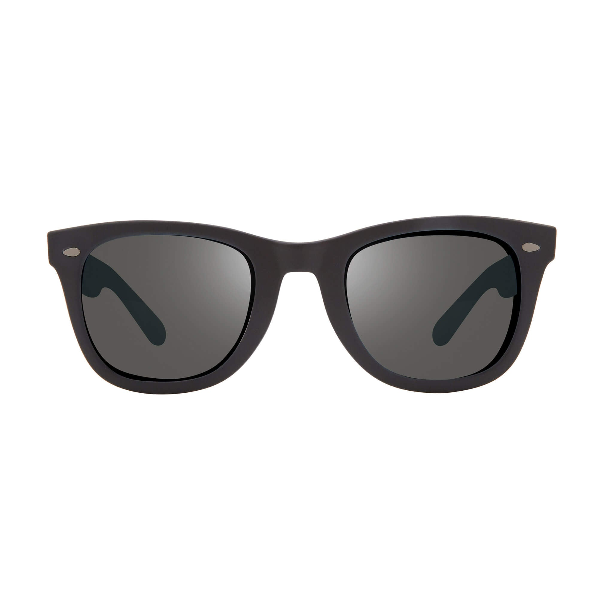 Forge Matte black + graphite lens:Front view of Bear Grylls Revo Black with Graphite lens sunglasses