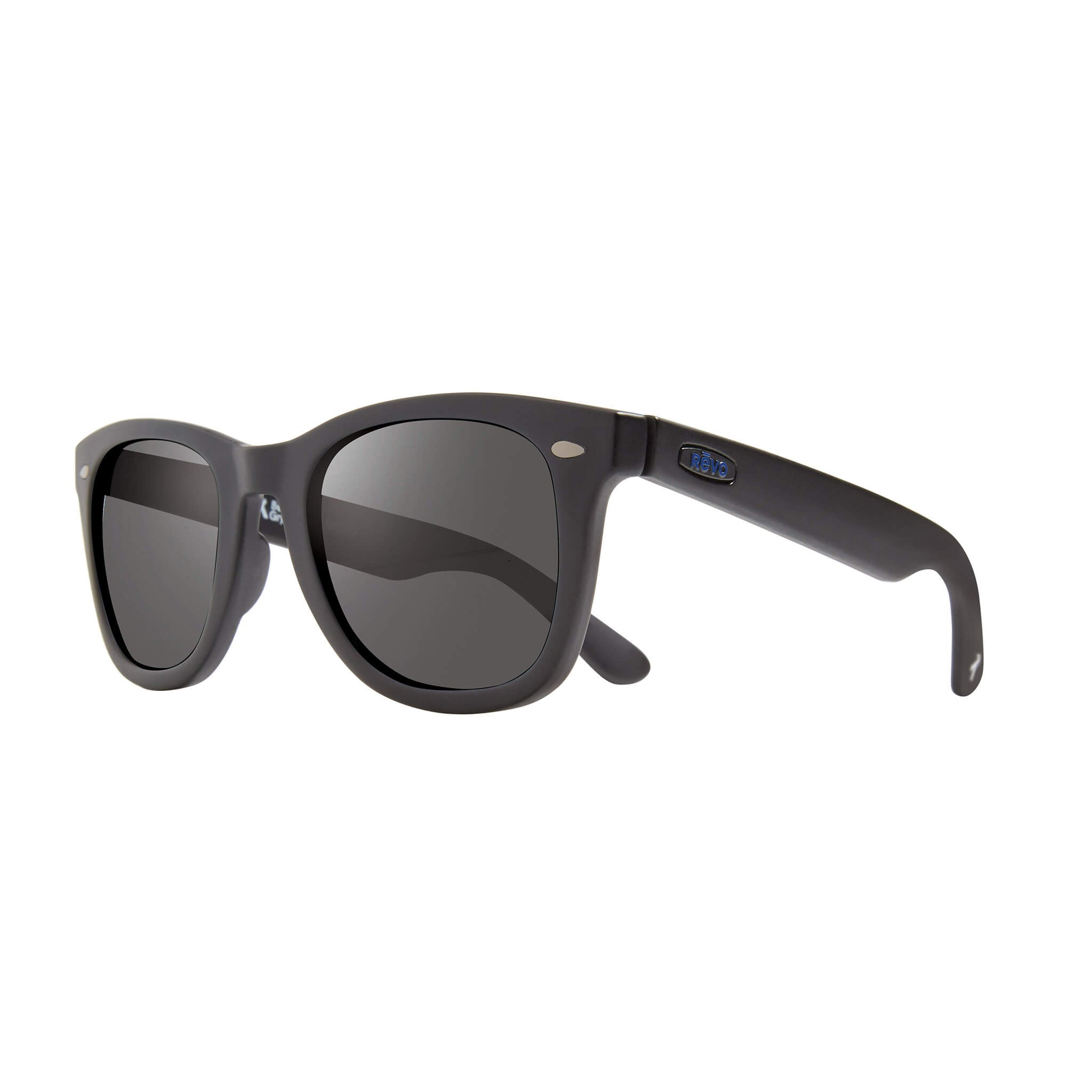 Forge Matte black + graphite lens:Side view of Bear Grylls Revo Black with Graphite lens sunglasses