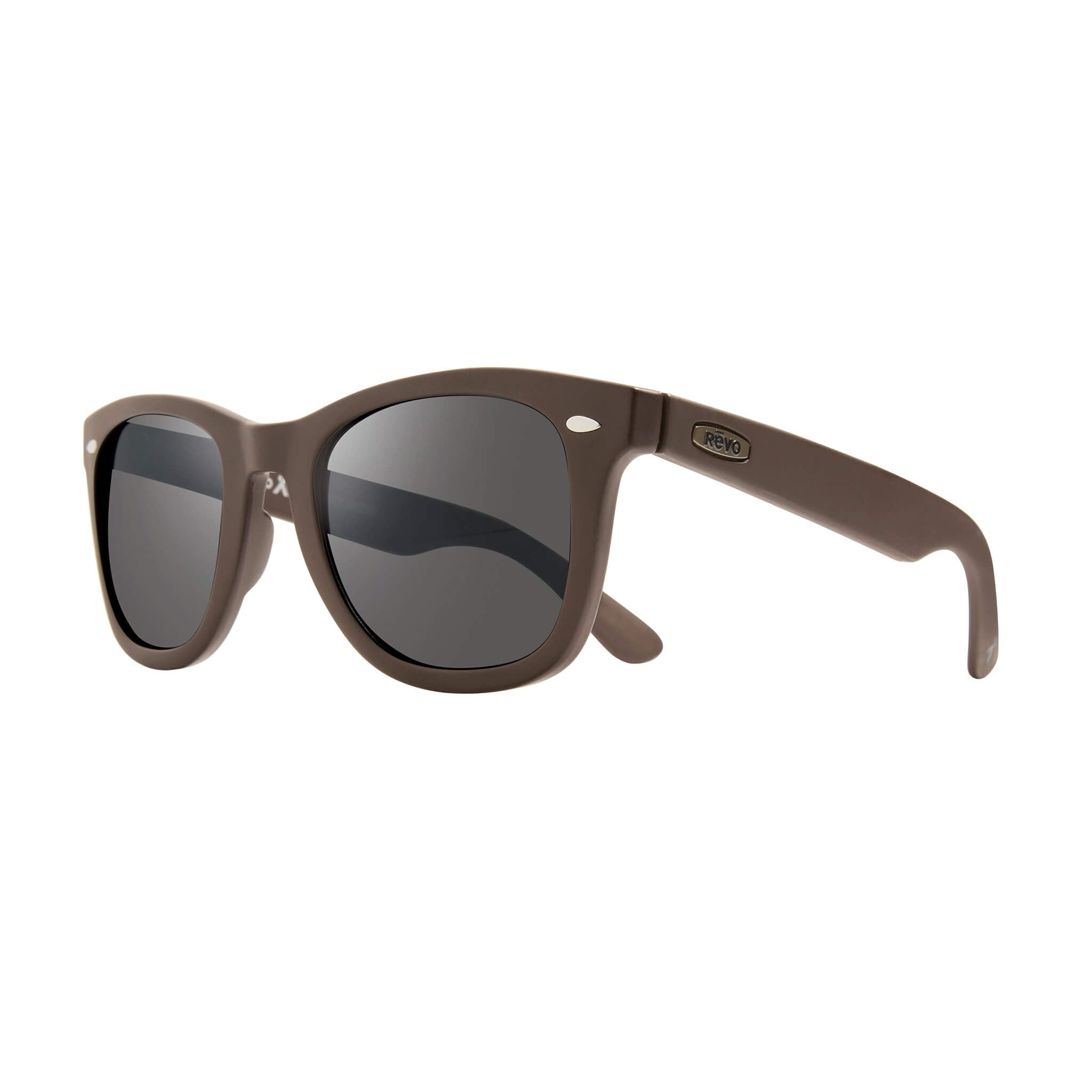 Forge Matte brown + graphite lens:Side view of Bear Grylls Revo Brown with Graphite lens sunglasses