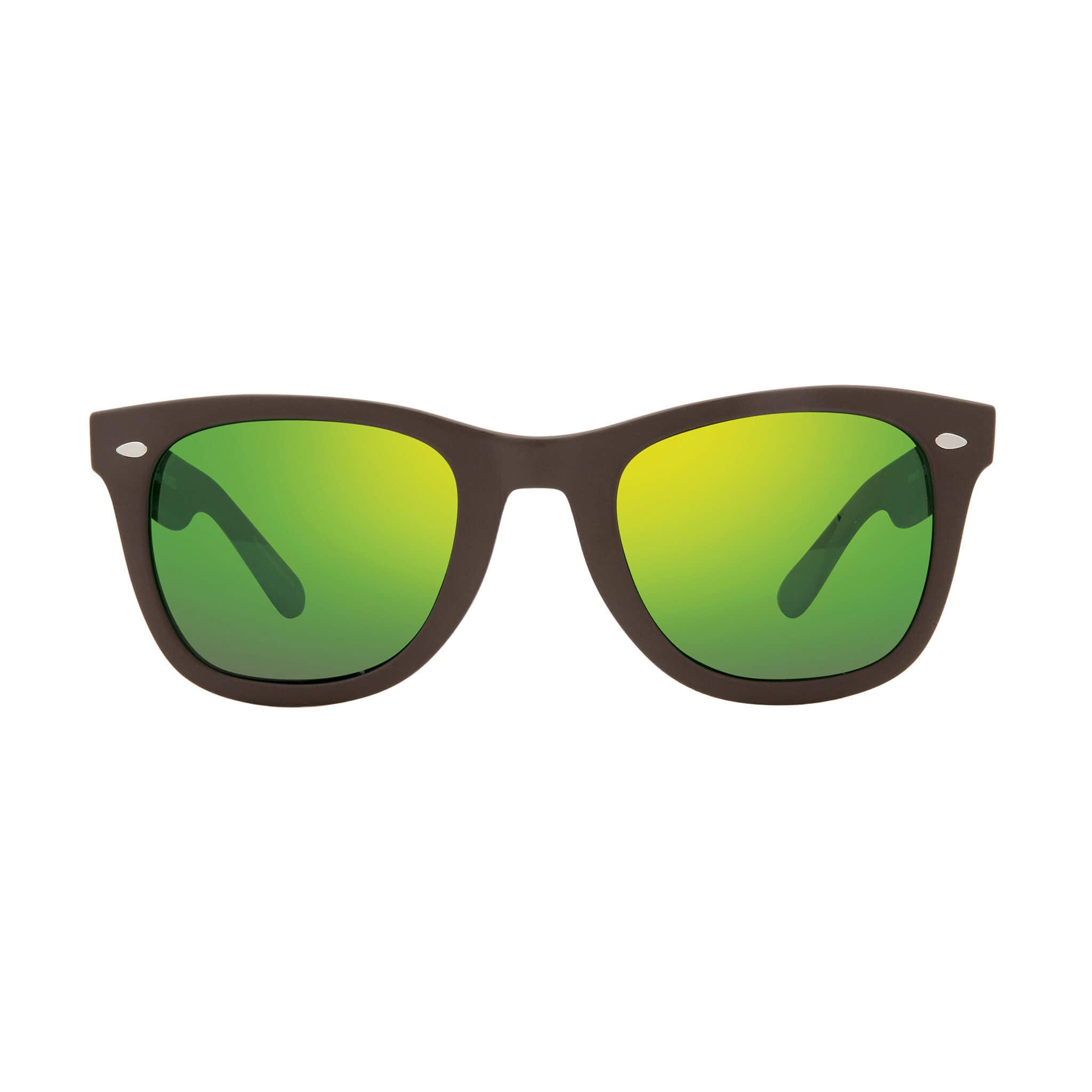 Forge Matte brown + green water lens:Front view of Bear Grylls Revo Brown with Green Water lens sunglasses