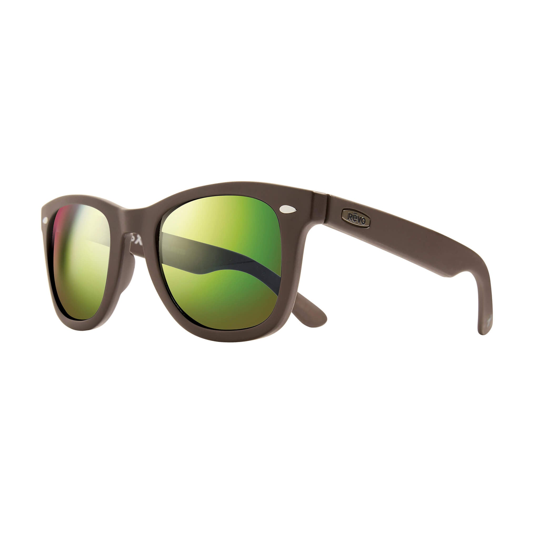 Forge Matte brown + green water lens:Side view of Bear Grylls Revo Brown with Green Water lens sunglasses