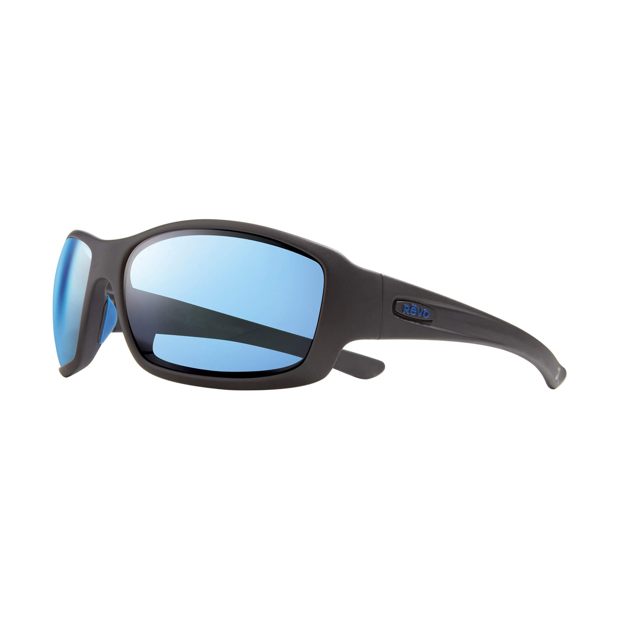 Maverick Matte black + blue water lens:Side view of Bear Grylls Revo Black with Blue Water lens glasses