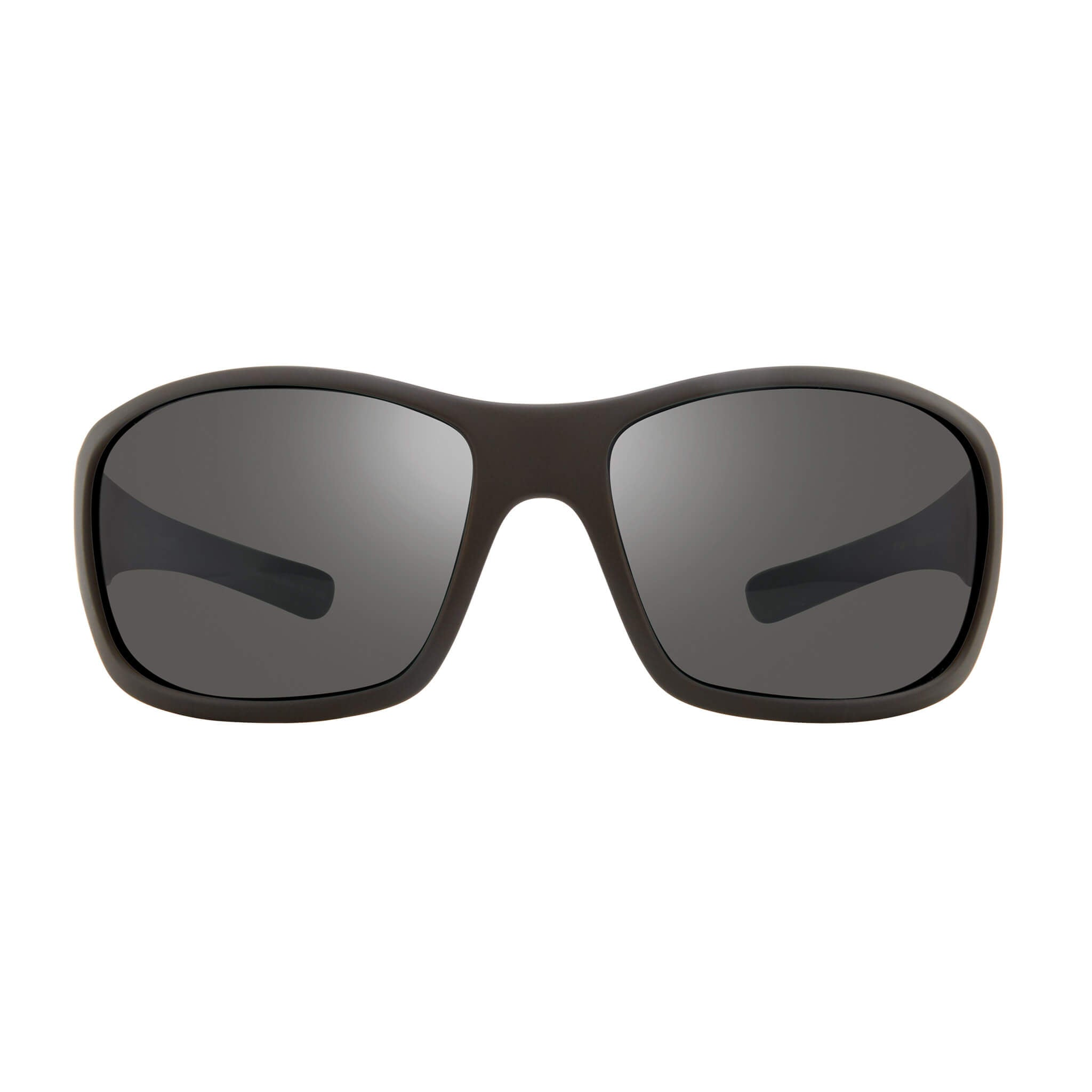 Maverick Matte black + graphite lens:Front view of Bear Grylls Revo Black with Graphite lens sunglasses