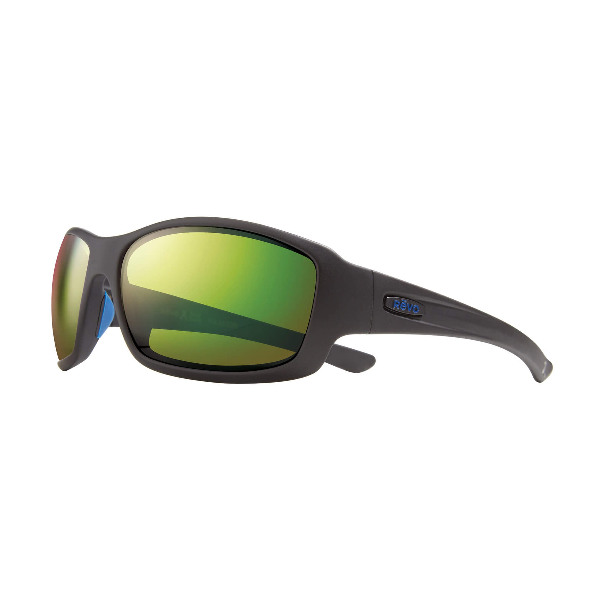 Maverick Matte black + green water lens:Side view of Bear Grylls Revo Black with Green Water lens sunglasses