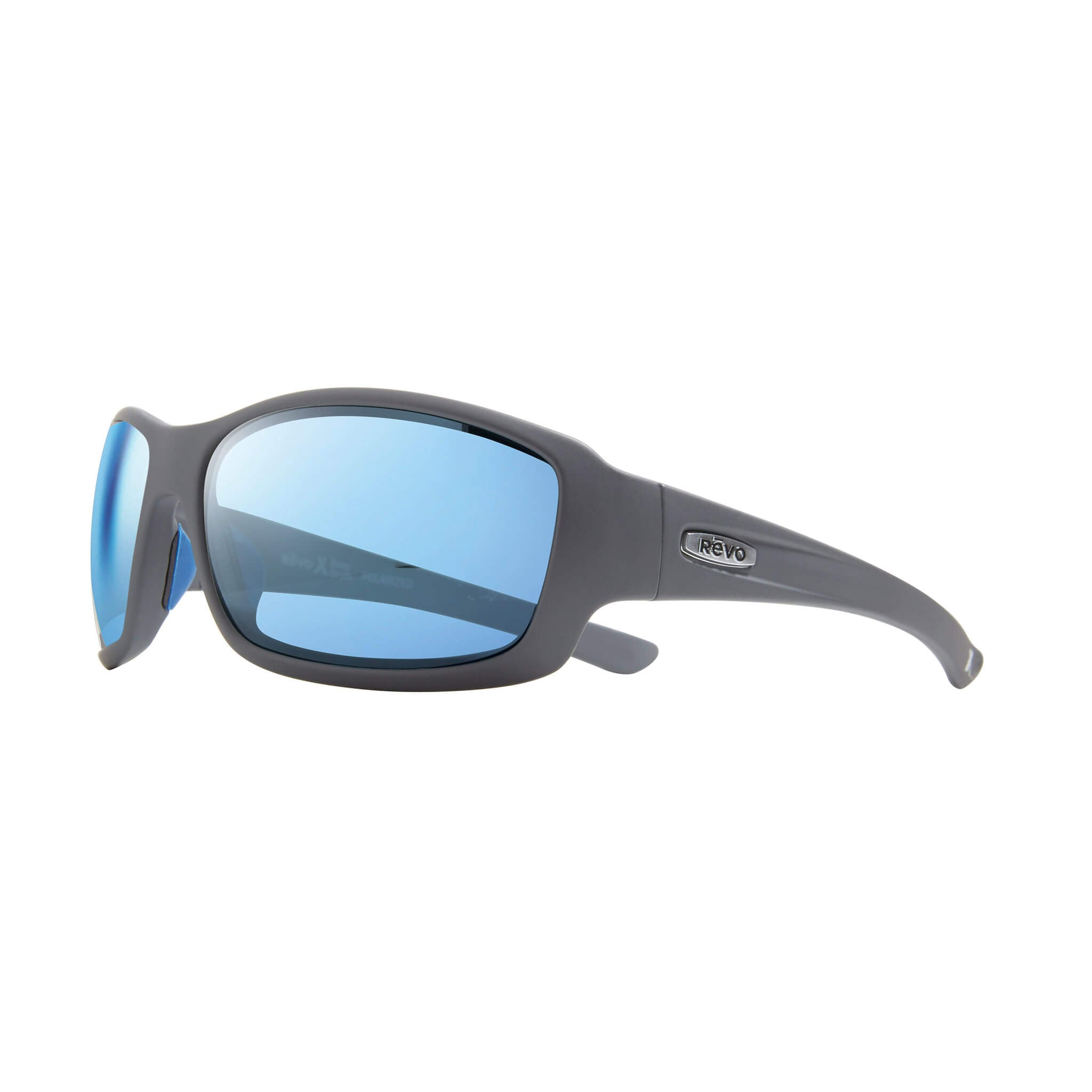 Maverick Matte graphite + blue water lens:Side view of Bear Grylls Revo Matte Graphite with Blue Water lens sunglasses
