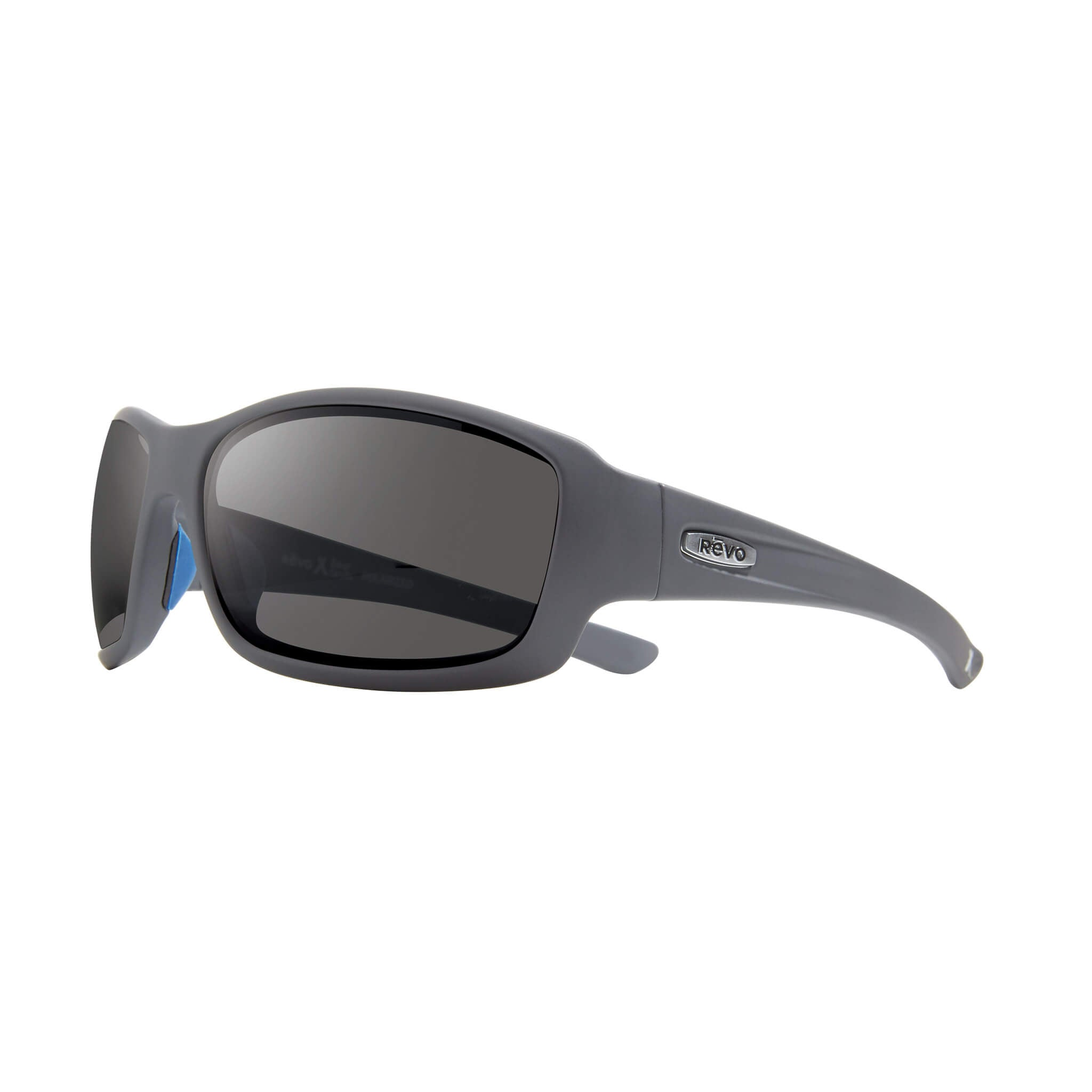 Maverick Matte graphite + graphite lens:Side view of Bear Grylls Revo Matte Graphite with Graphite lens sunglasses