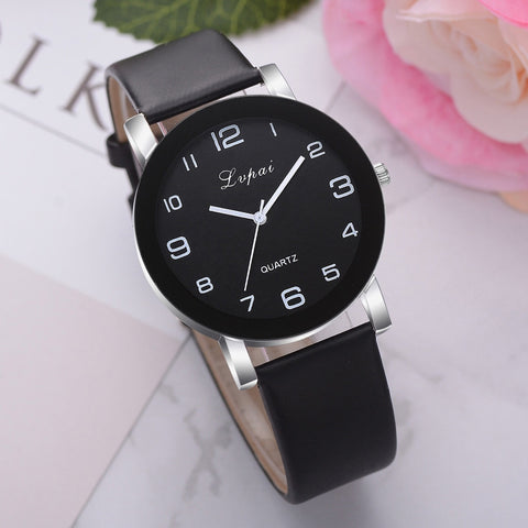 Quartz Leather Band Watch Stainless