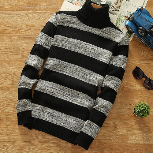 STRIPED TURTLENECK SWEATER (2 colors)