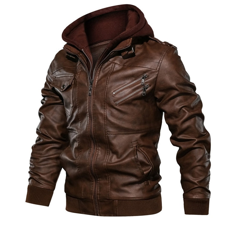 HOODED LEATHER JACKET (2 colors)