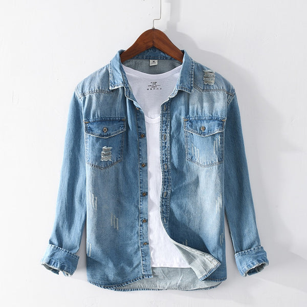 COTTON DENIM SHIRT (2 colors)