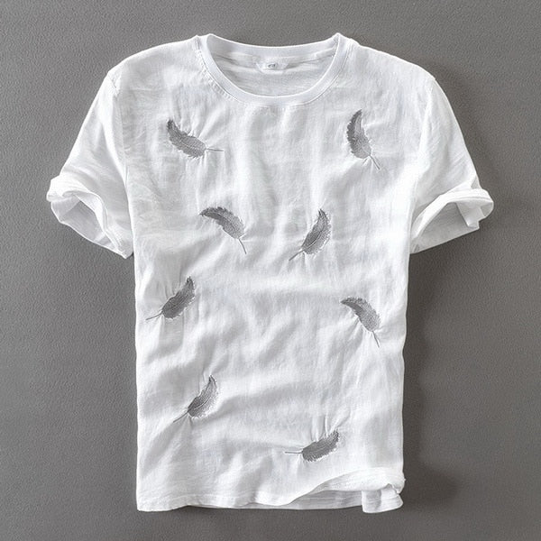 FEATHER EMBROIDERY T-SHIRT (2 colors)