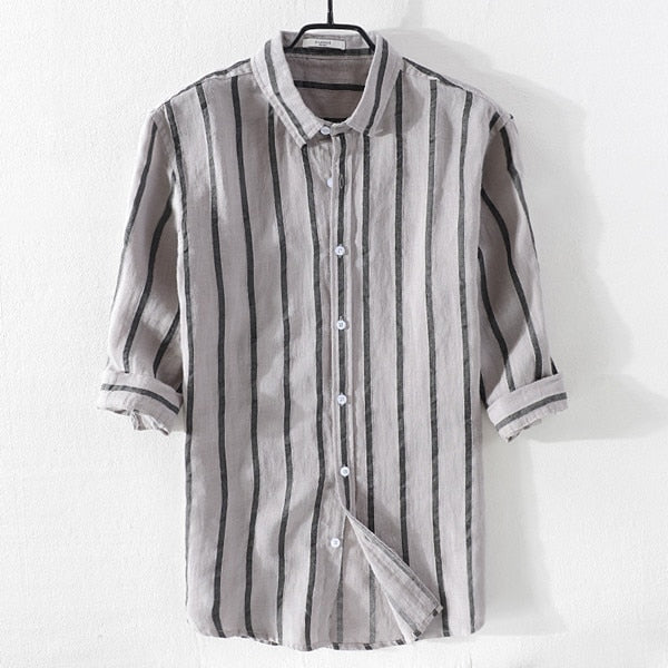 STRIPED LINEN SHIRT (4 colors)