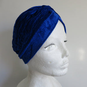 Blue Velour Turban