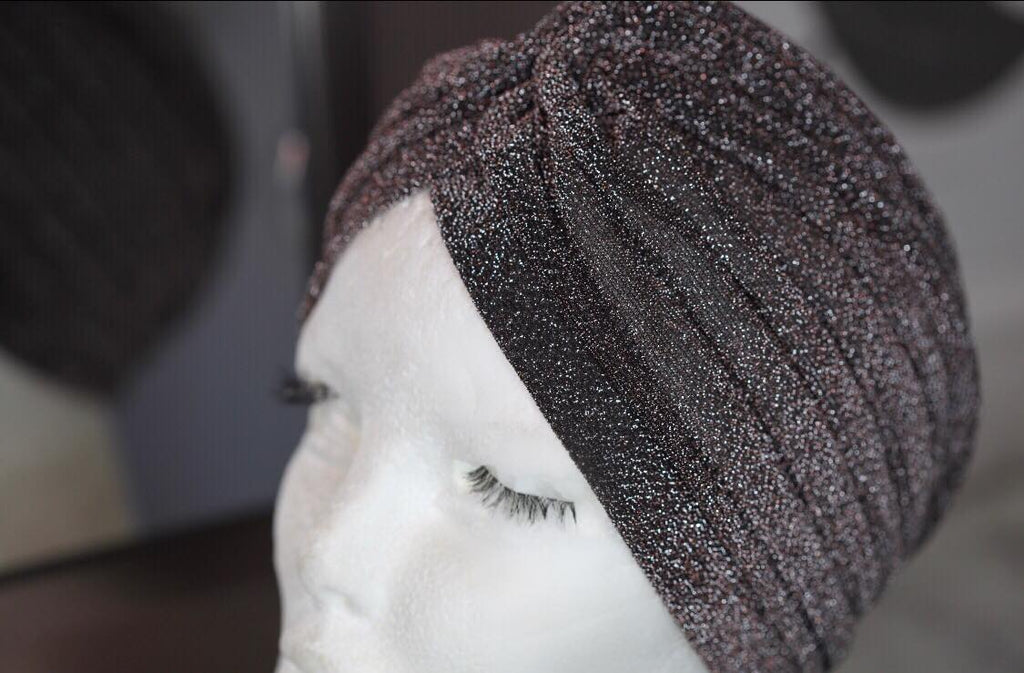 Brown Glitter Turban