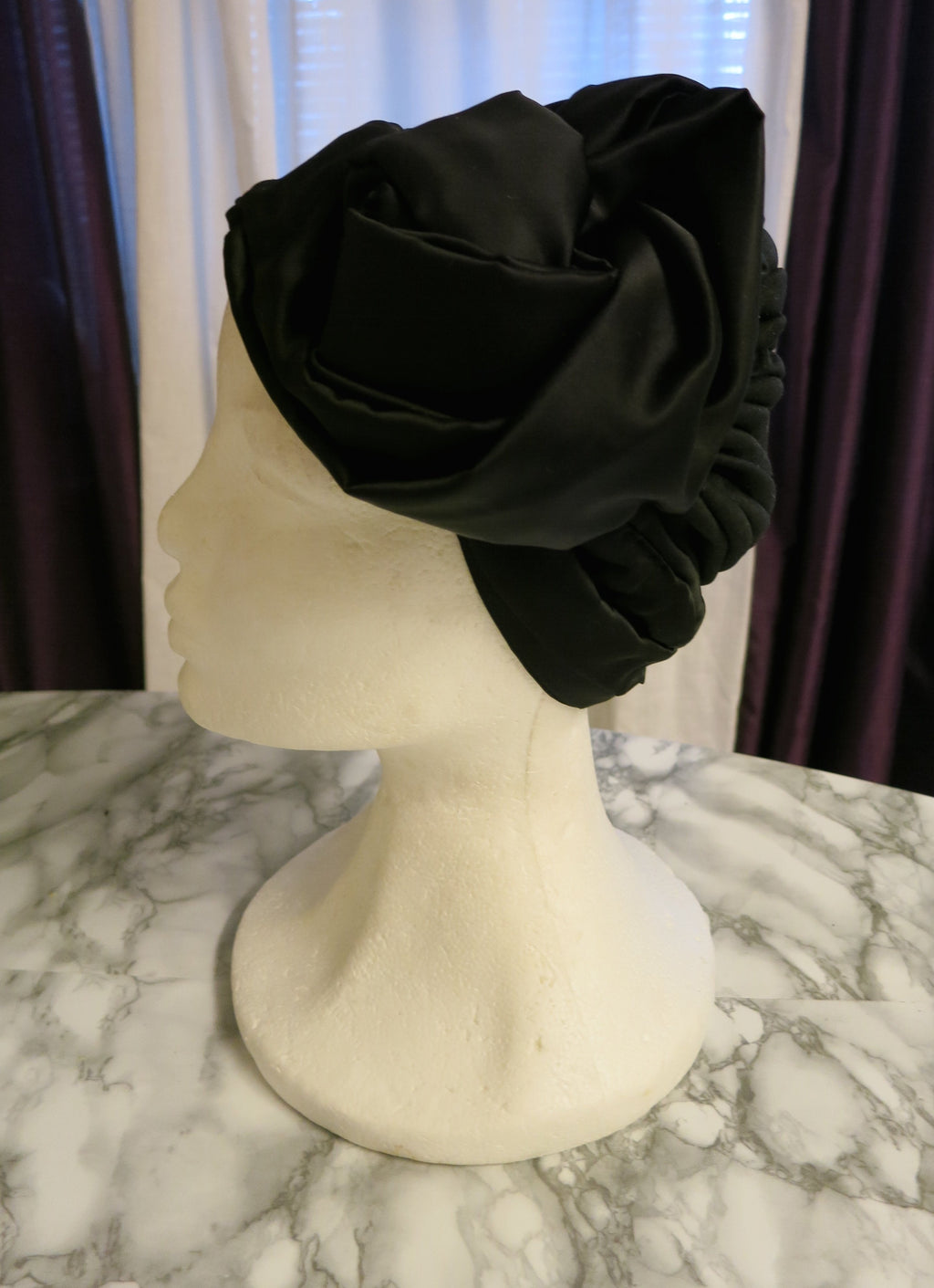 Black Silk Haute Couture Turban