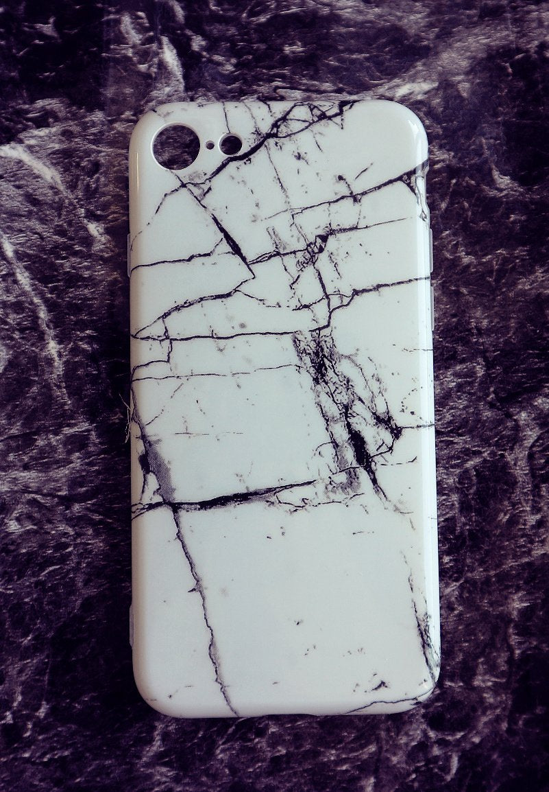 Silicon White Marble Phone case for iPhone 7