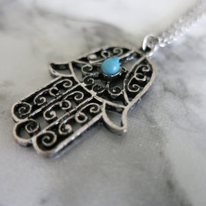 Silver Blue Fatimas Hand Necklace