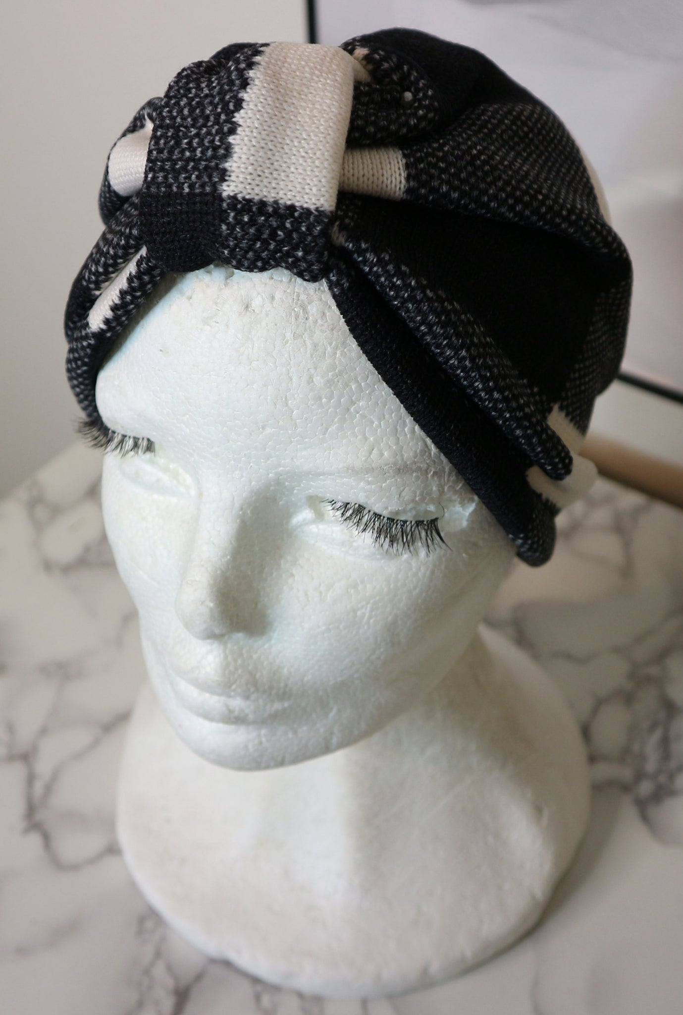 Black and White Winter Land Turban