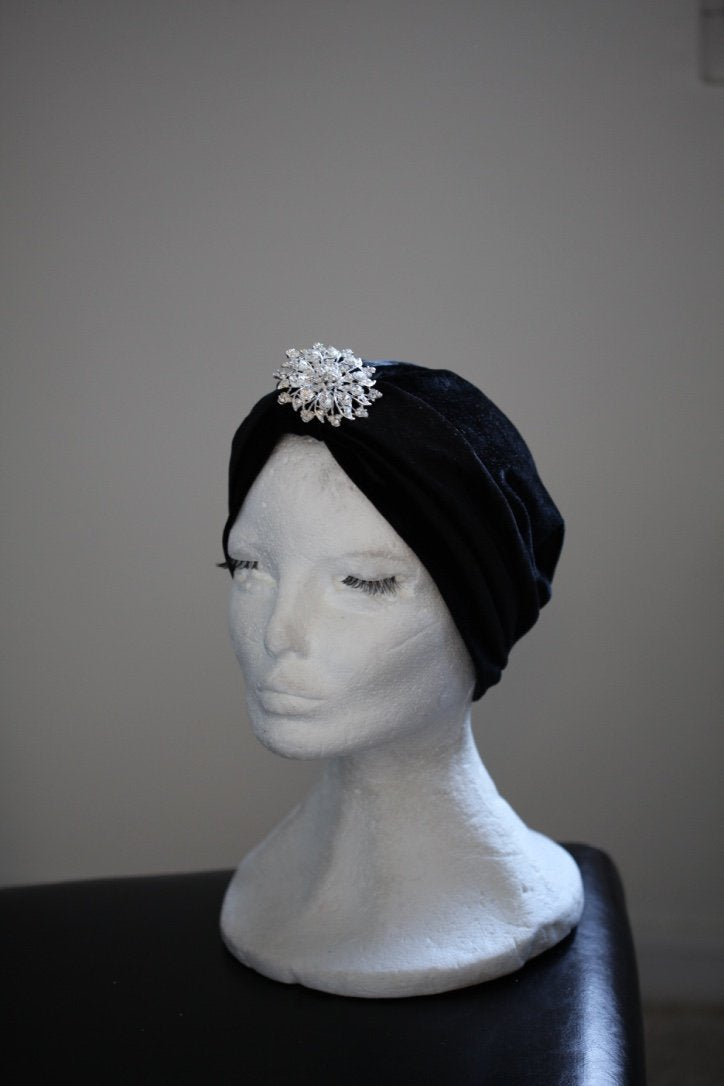 Sparkle Black Velvet turban