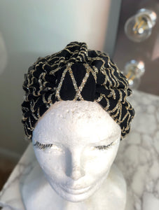 Gold Glitter Black Turban
