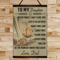 BA014 - To My Daughter - Good Time - Dad - Baseball Canvas With The Wood Frame